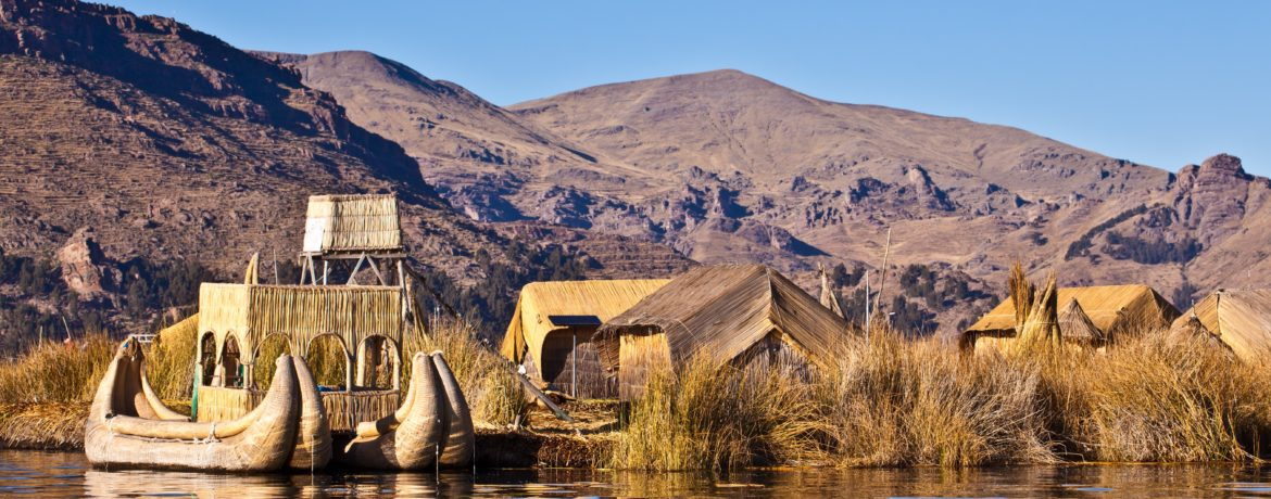 floating island of Uro tribe on Lake Titicaca in Peru - this tribes lives on flowting islands for centuries - could not be conquered neither by the Incas nor the Spaniards